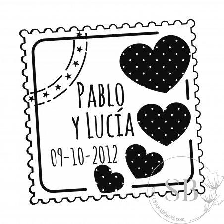Sello de caucho automático y personalizado para boda Postal con Corazón
