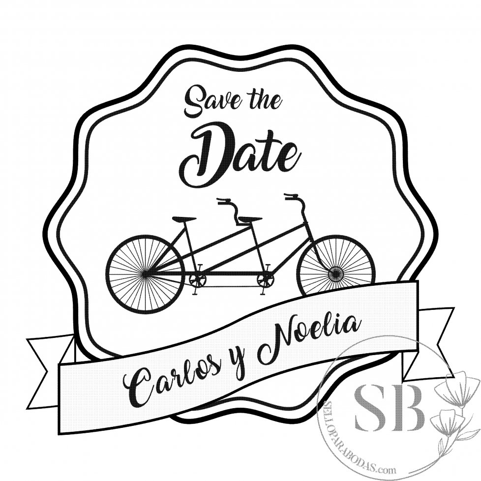 Sello de caucho personalizado para boda Bicicleta Tandem
