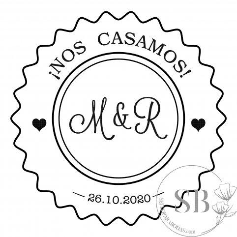 Sello de caucho personalizado para boda iniciales