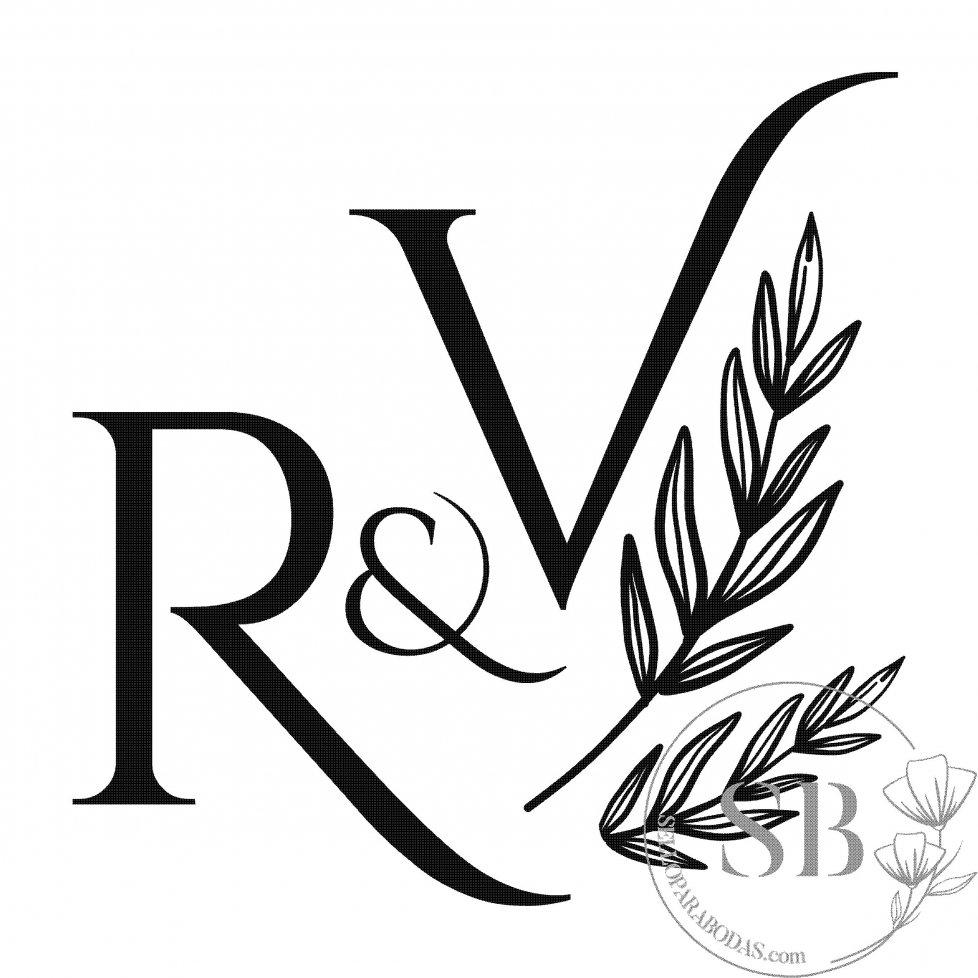 Sello de caucho para boda personalizado con iniciales y rama de olivo