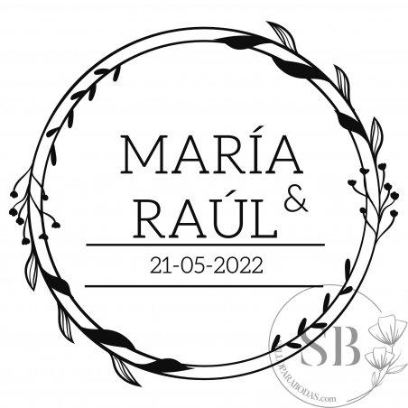Sello de caucho floral para boda con nombres y fecha