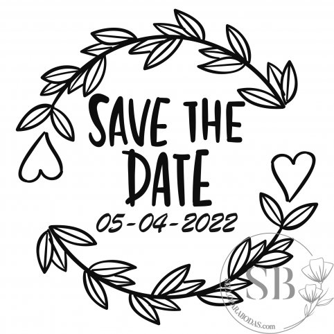 Sello de caucho para boda personalizado con fecha Save the date