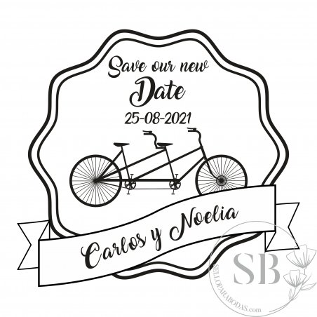 Sello de caucho para boda personalizado Save our new Date