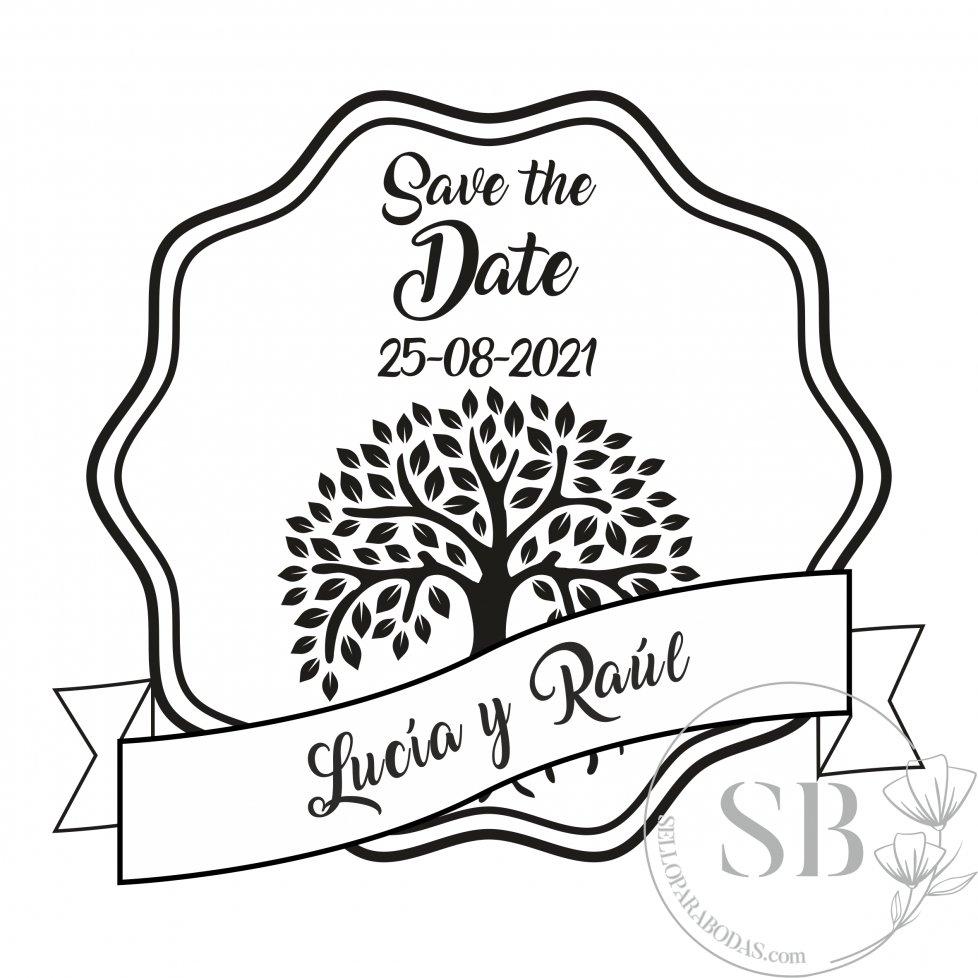 Sello de caucho para boda personalizado Save the Date con árbol de la vida