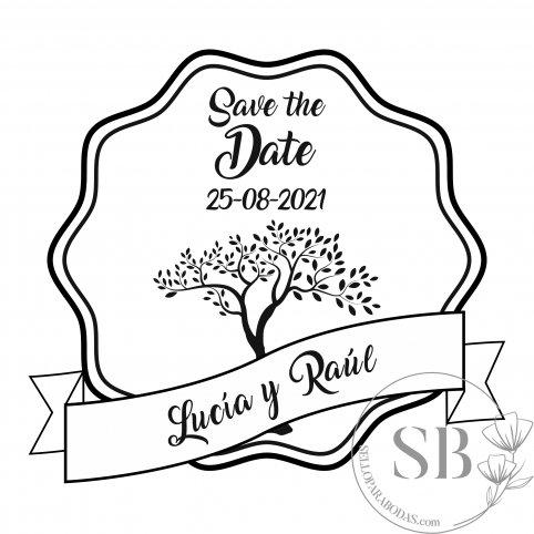 Sello de caucho para boda personalizado con árbol de la vida