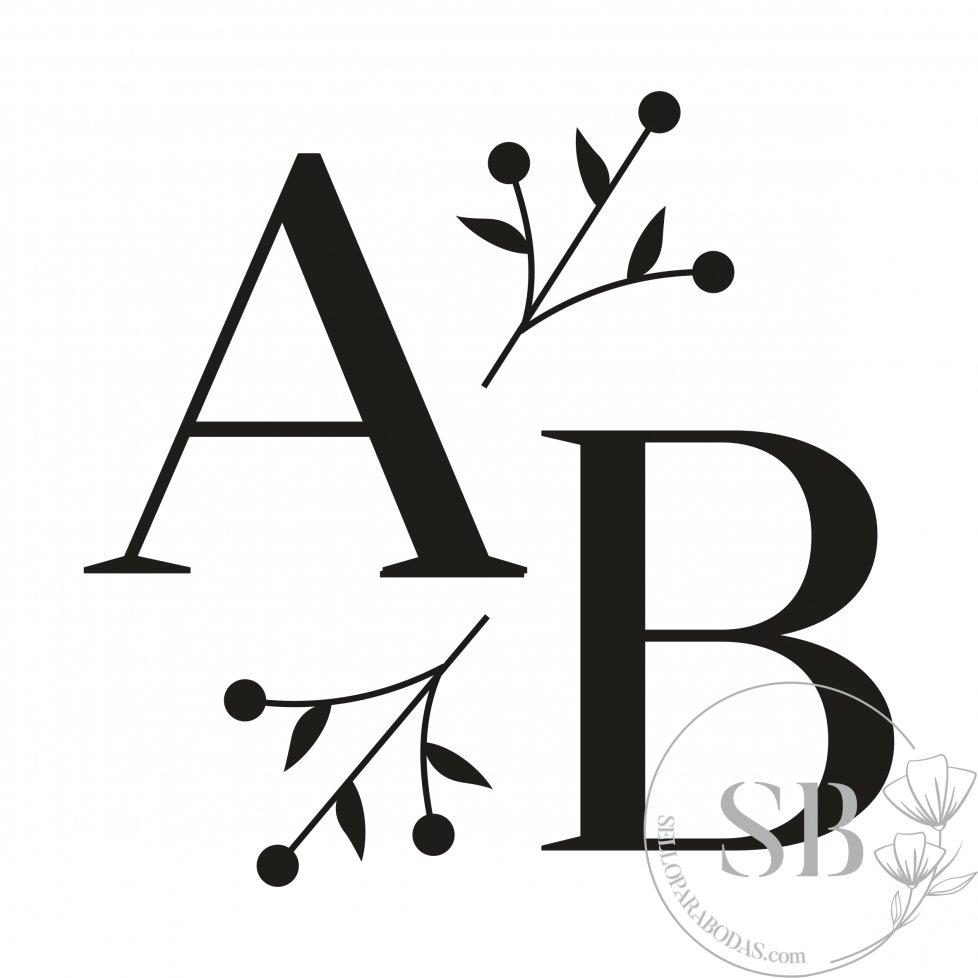 Sello de caucho para boda personalizado iniciales y ramas