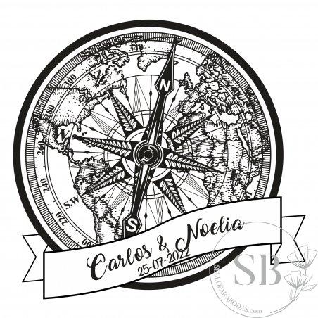 Sello de caucho automático y personalizado para boda brújula y mapa