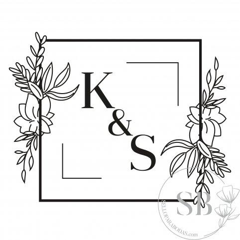 Sello de caucho para boda personalizado con iniciales y flores