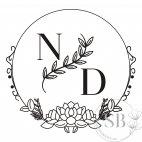 Sello de caucho para boda personalizado con iniciales circular