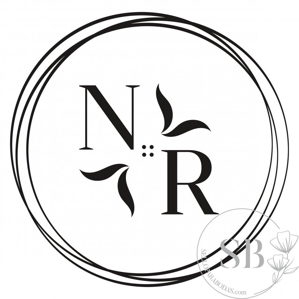 Sello de caucho para boda personalizado con iniciales y círculos