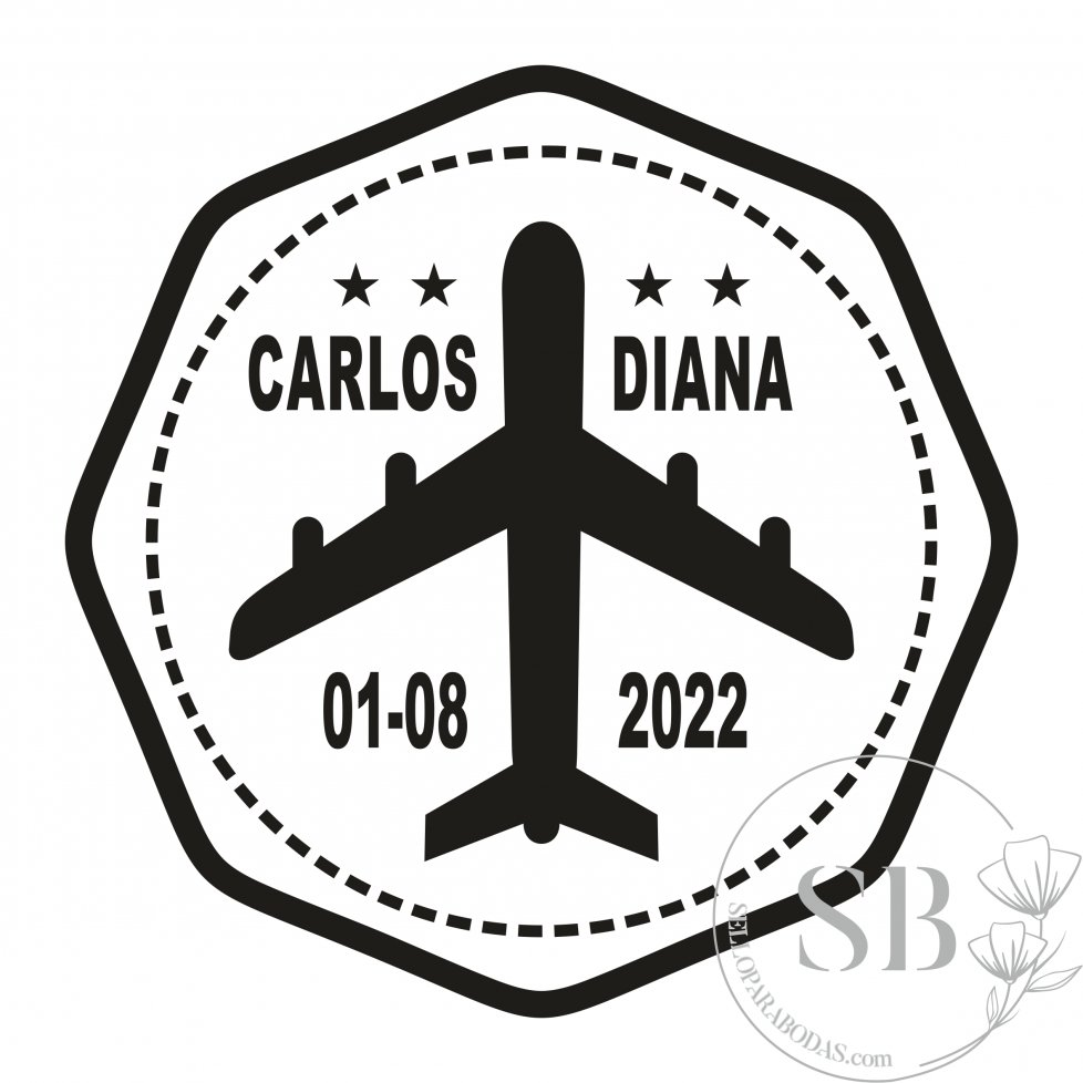 Sello de caucho personalizado para boda avión