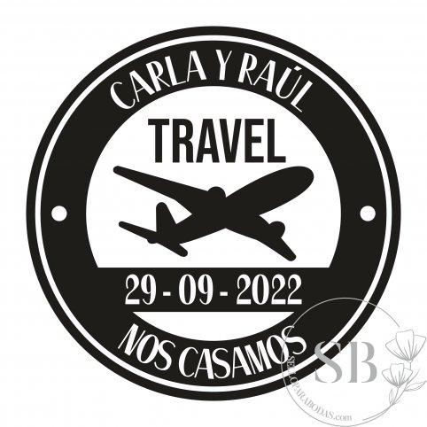 Sello de caucho personalizado para boda avión travel