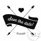 Sello de caucho automático y personalizado para boda Save the date