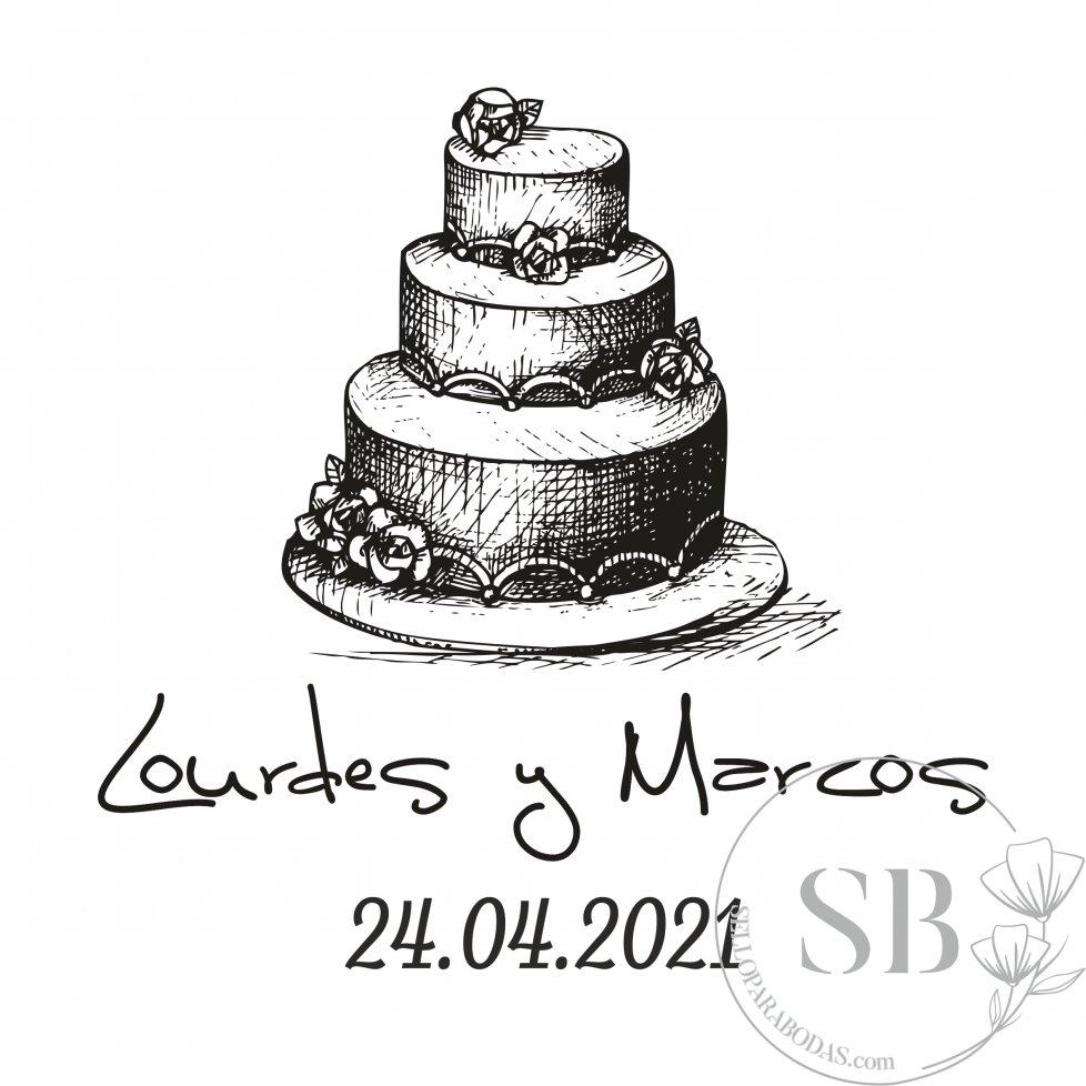 Sello de caucho personalizado para bodas con tarta