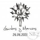 Sello de caucho personalizado para bodas ramo de flores