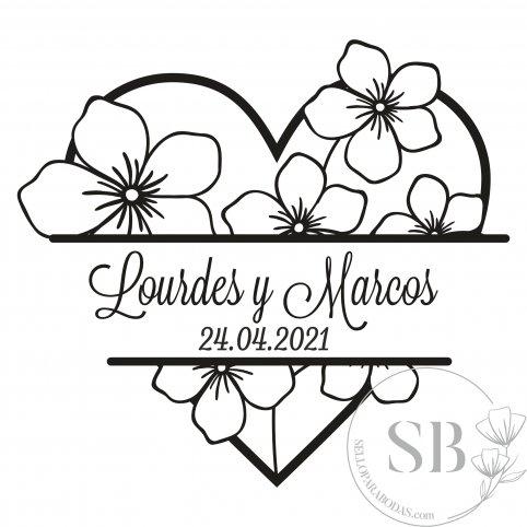 Sello de caucho personalizado para bodas corazón con flores